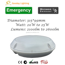 ip65 20w round led emergency motion sensor ceiling and wall bulkhead