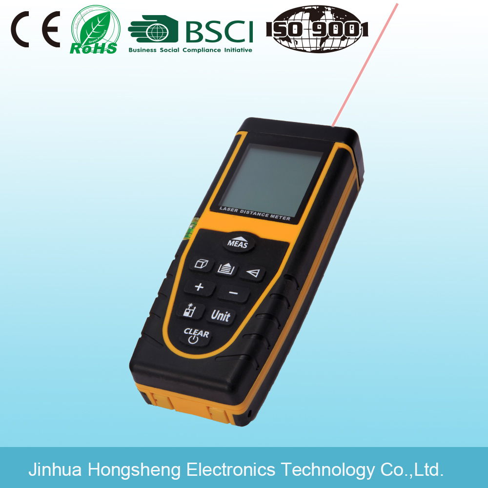 80m 262ft Laser Distance Meter with Bubble Level Tool Measure Tape Rangefinder
