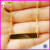 2015 CHEAP 18k gold stamped bar necklace 925 sterling silver personalized name necklace