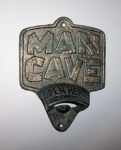 """ABC Products"" - Primitive Heavy Cast Iron - Vintage Style Plate - Wall Mount Bottle Opener - With A Sign The Words ""MAN'S CAVE"" - (Rustic Green Gold Overlay - Indoor Outdoor"