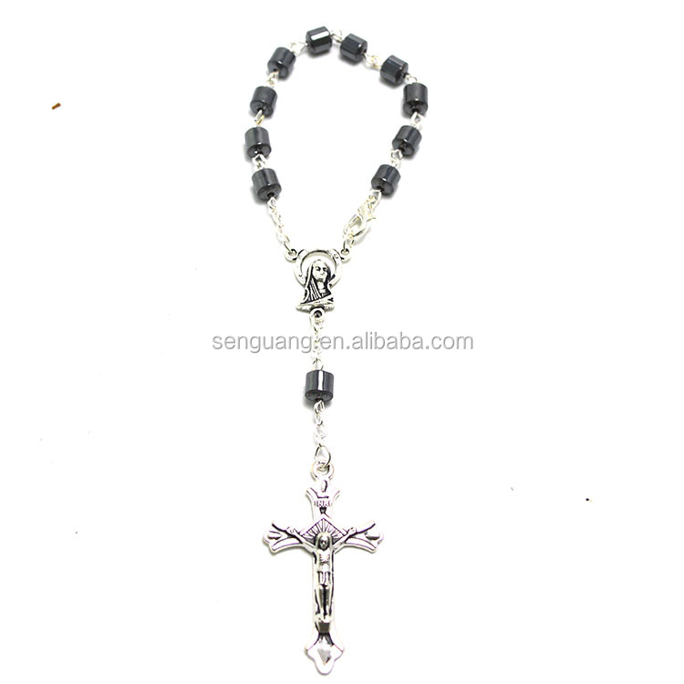 Hot Hematite Religion Ten Years Rosary Cage Hematite Rosary Necklace