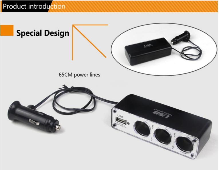 автомобильное зарядное устройство Usb адаптер прикуривателя тройная