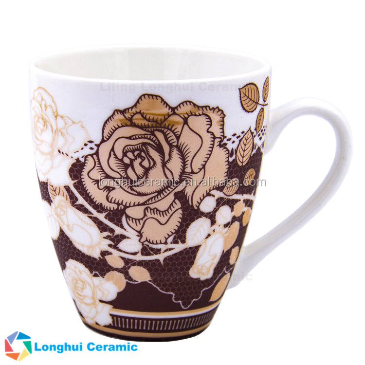 cheap custom brown floral design decal ceramic pottery 300ml coffee mug