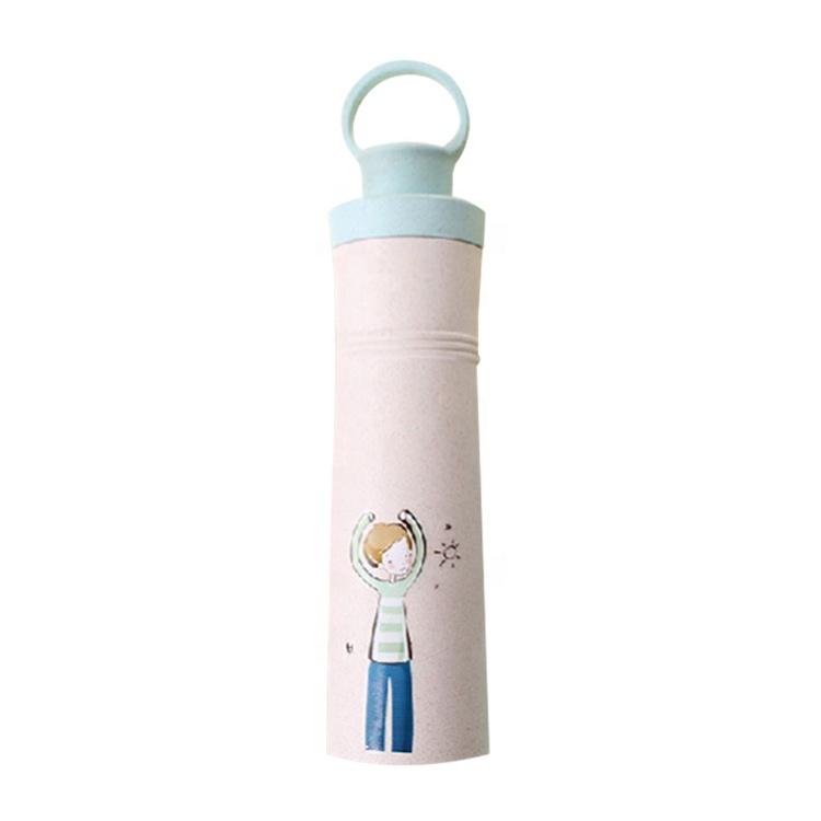 AFTCE087300ML Free BPA PP Bottles Cartoon Portable Leak Proof Water Bottle With Wheat Straw