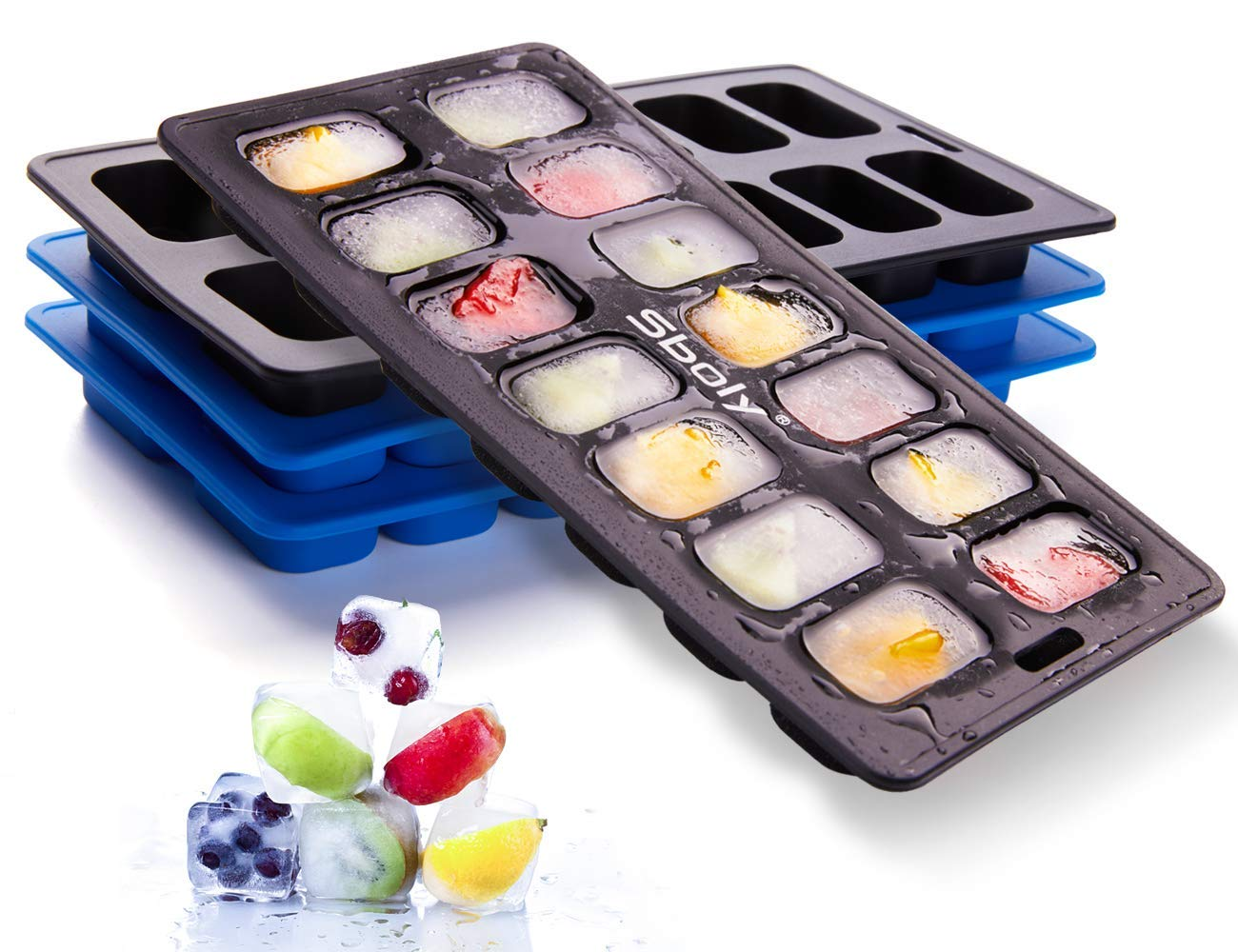 Ice Cube Trays 4 Pack, Sboly 100% Silicone Ice Cube Maker Chocolate Molds Flexible 14-Ice Trays, BPA Free and FDA Certified, Easy-Release Durable and Dishwasher Safe (2 Black 2 Blue)