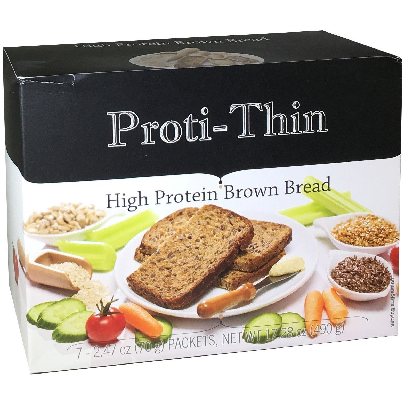 Proti-Thin - High Protein Brown Bread - 15g Protein - High Fiber - Low Net Carb -Diet Bread (7/Box)