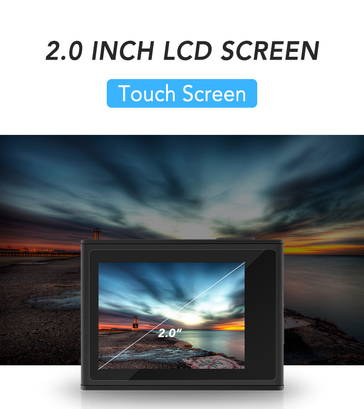 Curved Screen 2.0inch 170 Degree Wide Angle Private Hisilicon Sports Camera 4K 30fps