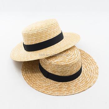 school wide brim straw boater hat custom women wheat straw hat with bowknot 53eebeac733