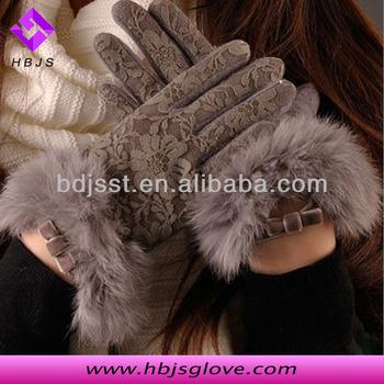 Corea del invierno guantes de lana para las mujeres con piel de conejo 0a822aff599