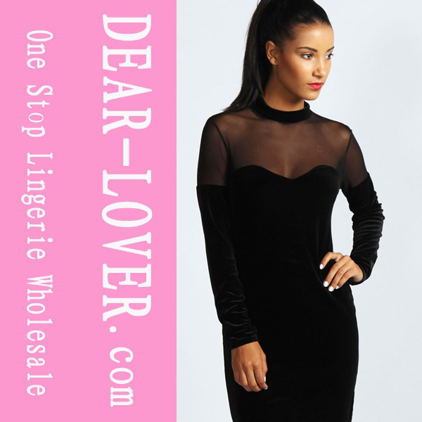 120ccbe09f nuevo largo mangas de malla negro vestido bodycon 2014-Vestido y ...