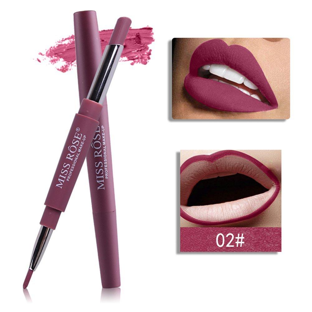 Multifunktionale Lipstick Pen Lip Liner, MISS ROSE, wasserdicht und wird nicht einfach wegschmelzen, 8 optionale Farben (mit einem Lippenstift auf einem Ende und einem Lip Liner auf dem anderen Ende)