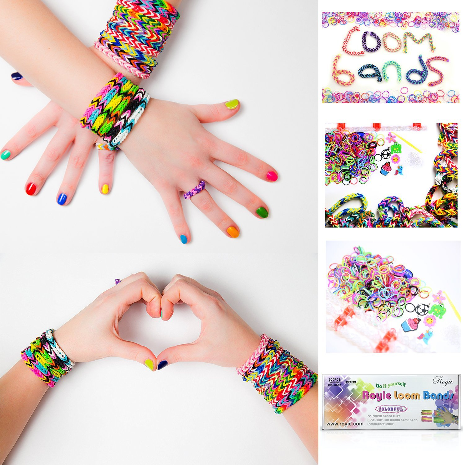 Royie Premium Rainbow Loom Bands 600 Kit, Bracelet Making Kit, 24 S Clips, 600 Loom Band, Six Charms Rubber bands