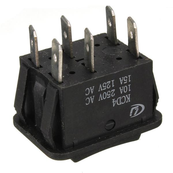 6Pin автоматический On / Off / при электропитание окно рокер переключатель переменный ток 250 V / 10A 125 В / 15 a
