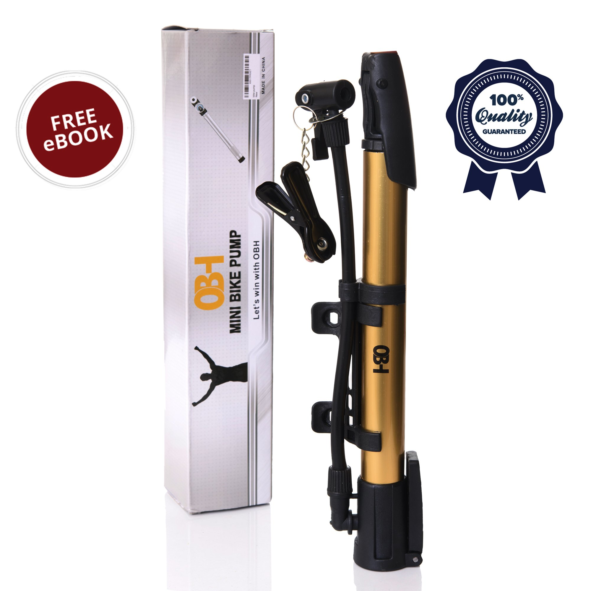 OBH Mini Bike Pump – 120 PSI High Pressure Portable Bike Tire Pump– Lightweight & easy to use - Compatible with Dunlop & Schrader Valves – with eBook