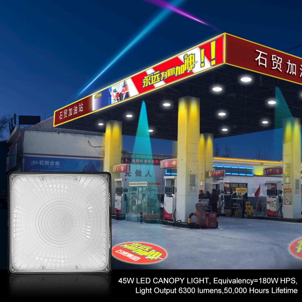 야외 led 캐노피 빛 주유소
