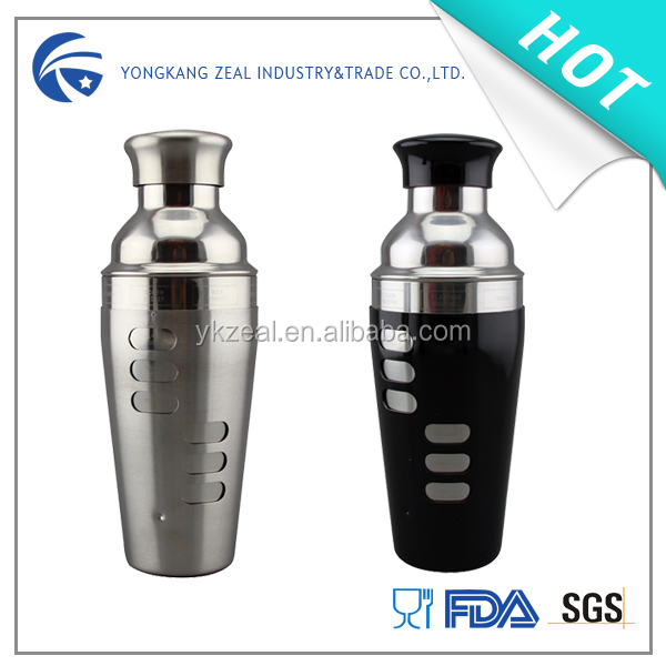 zeal SS009B 750ml 2014 new premium recipe prescription food grade customized cocktail shaker with measures