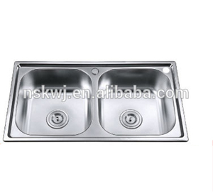 Hand Made Stainless Steel Double Bowl Undermount Kitchen Sink With Drainer