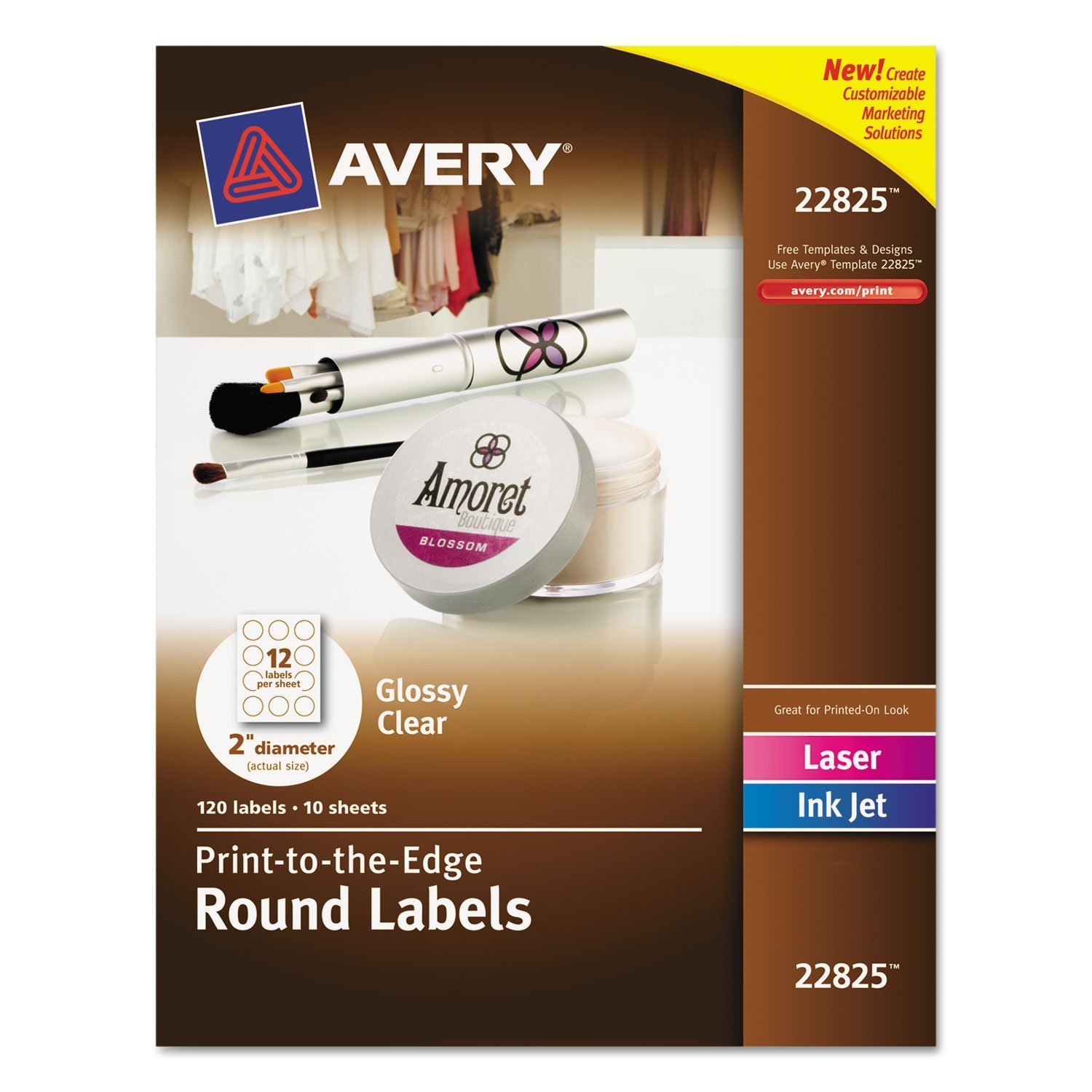 Avery Round Print-to-the-Edge Labels, 2 inch dia, Glossy Clear, 120/Pack