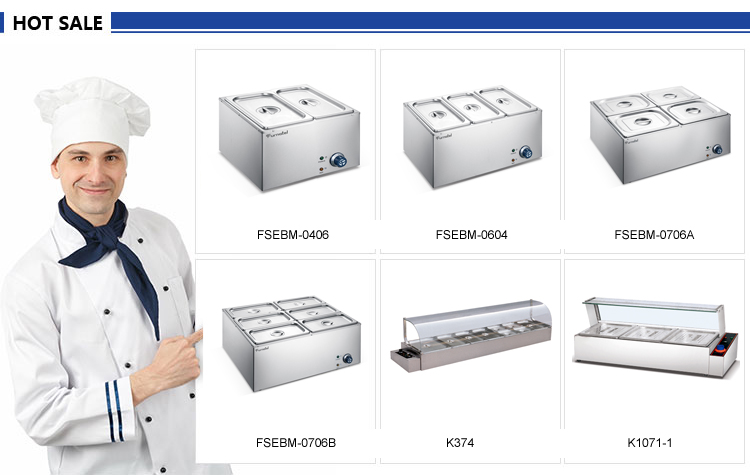 FSEBM-0706B Commercial 6 Pans Electric Bain Marie Counter Top Cooking Equipment