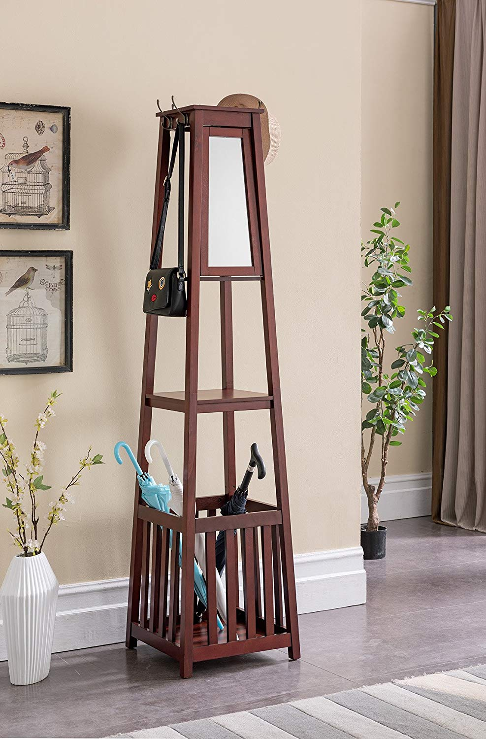 Walnut Kings Brand Furniture Entryway Hall Tree with Mirror Coat Hooks /& Storage Bench