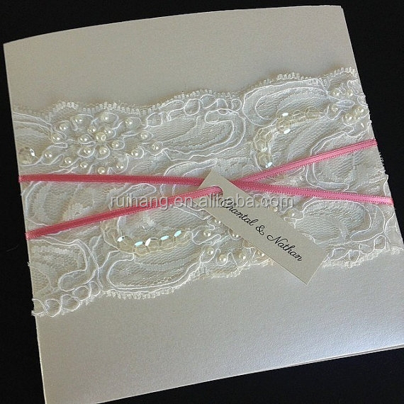 luxury beaded lace with pearl metallic ivory card stock wedding invitation cards