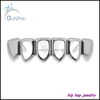 Four Open Face Teeth Grillz Hip Hop Silver six teeth grillz