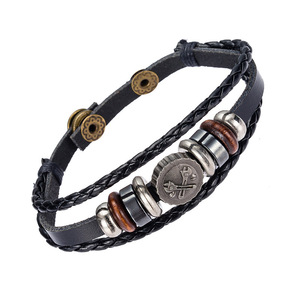 Wrist Wrap PU Multi Layer Weave Leather Locket Bracelet
