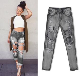 54d0ec16cd4 W0827 Лидер продаж 2016 г. Новая модная женская Повседневная Высокая талия  рваные джинсы отверстие колена