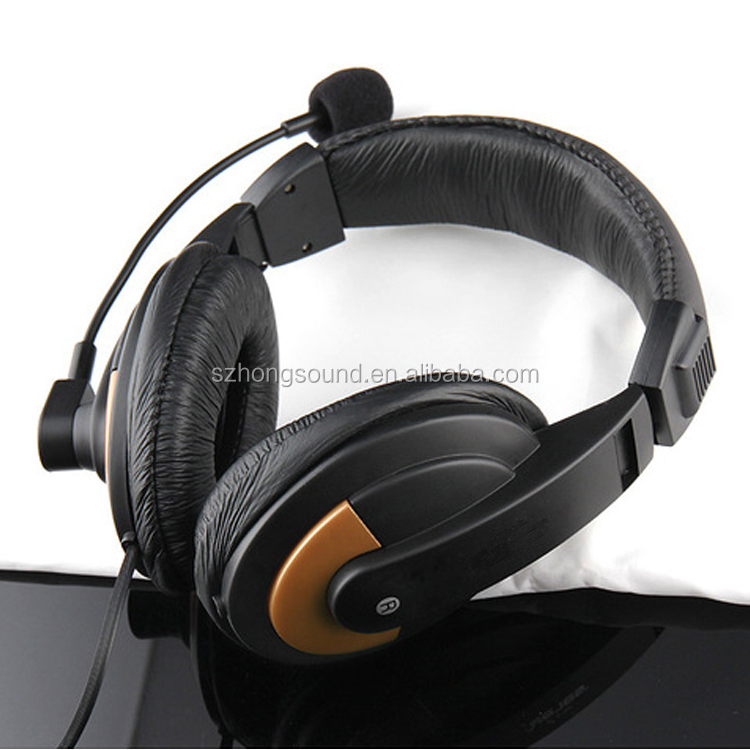 Adjustable size ultra bass computer headset headband stereo headphones with wire
