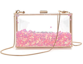 2018 new design bling bling clutch bag evening, Acrylic evening bag women clutch pink heart with water inside