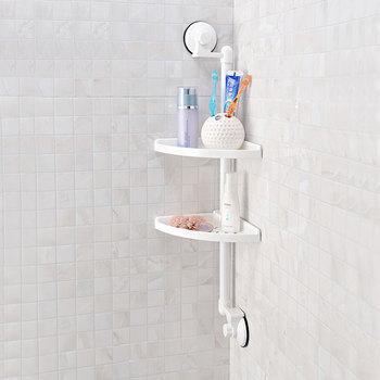 Wall Mounted Bathroom Plastic Corner Shelf Bath Caddy With 2 Layers ...