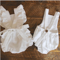 soft short sleeve linen cotton romper baby girl