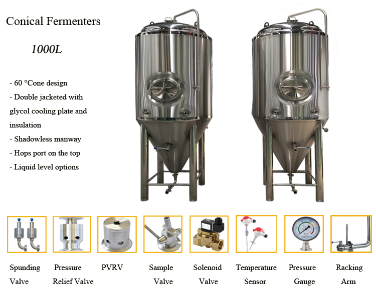 1000l 2000l 3000l 4000l 5000L 6000L Stainless Steel Beer Conical Fermenter Fermentation Tank