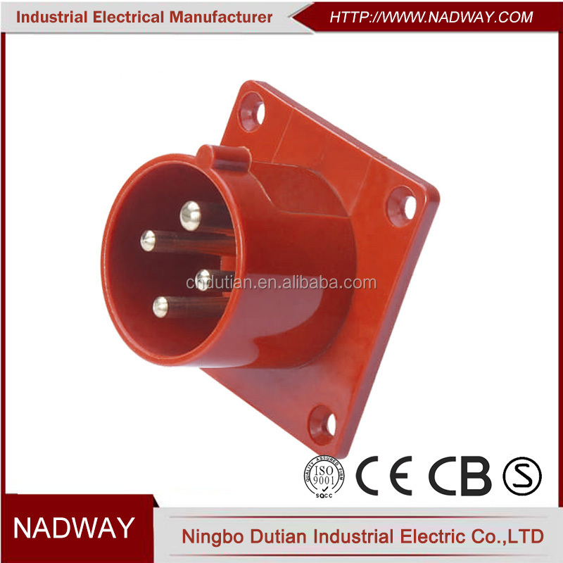 IP44 CEE/IEC waterproof Panel Mounted 32a 6h industrial plug socket