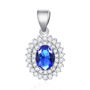 POLIVA Valentines Day Special Gift 925 Sterling Silver Blue Stone Sapphire Charm Pendants for Women