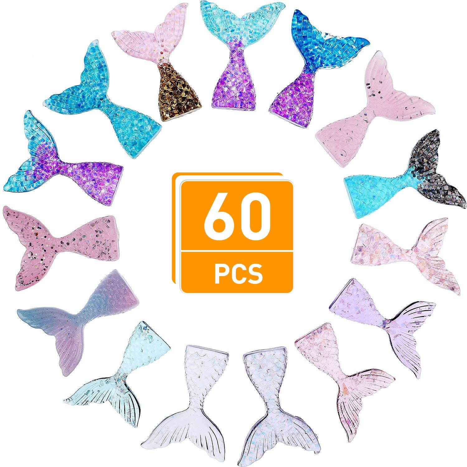 Blulu 60 Pieces Mermaid Tail Slime Charms Resin Flatback Glitter Slime Beads for Scrapbooking Jewelry Making DIY Crafts, 10 Colors