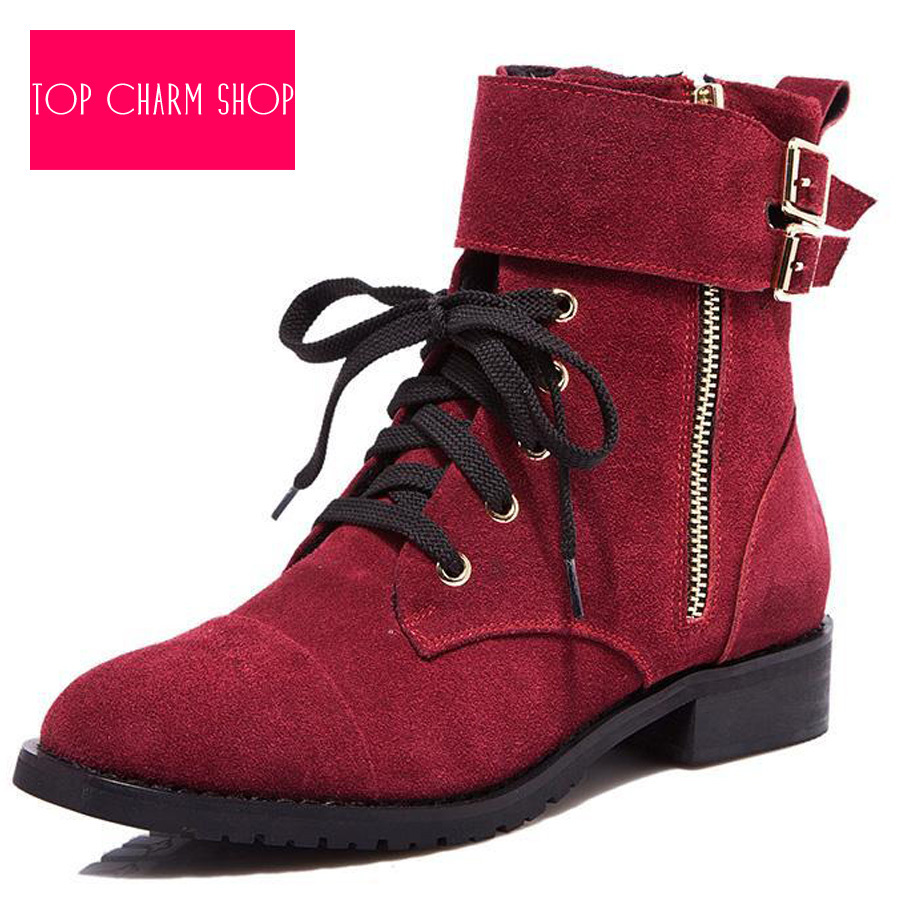 f34b309e3ce9 Get Quotations · 2015 Hot Selling Winter Women Ankle Boots Fashion Flat  Ankle Boots Leather Motorcycle Boots Solid Fur