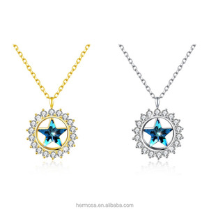 Hermosa Star Shape Austria Aurora Crystal Pendant S925/Gold Plated Necklace Fashion Women Jewelry
