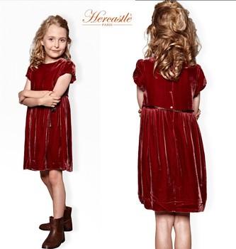 75e12667d1 2015 Europe Elegant Red Velvet Girls Party Dress Puff Sleeve Medium New  Dress Plain Gathering Girls