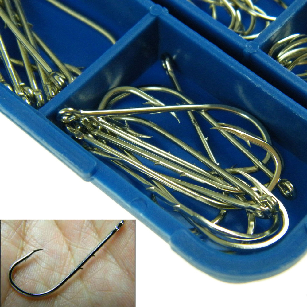 #3-#12 Freshwater Carbon Silver Bait Holder With Barbs Baitholder Fishhook Fishing Hooks Set