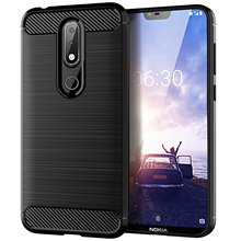 Hot Flash Modieuze Ontwerp Geborsteld Silicone Soft Carbon Fiber <span class=keywords><strong>TPU</strong></span> Telefoon Cover Case voor Nokia 6.1 Plus