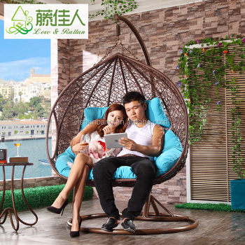 Adult Two Person Rattan Wicker Basket Iron Stand Outdoor Garden Swing Chair  For Sale