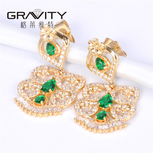 Thailand women jewelry 22K gold drop stud earring