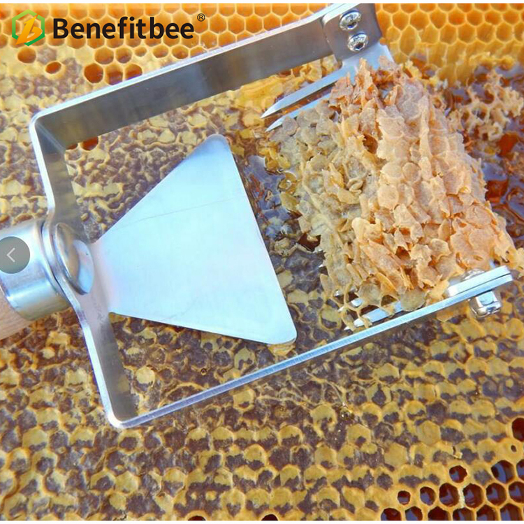 Newest Wood Handle Multifunctional Honey Uncapping Fork stainless steel Iron Honeycomb Honey Scraper scratcher