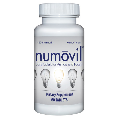Numovil Memory, Concentration & Focus Brain Supplement with NAC, DMAE, and Bacopa - 1 Month Supply (60 Tablets)