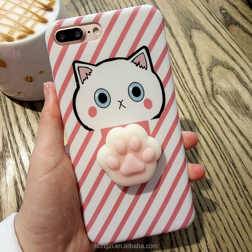Cute 3D Cat Silicone AntiStress Squishy Slow Rising Case Cover Skin Shell for Apple iPhone 6 6S S 7 7S 8 Plus cases