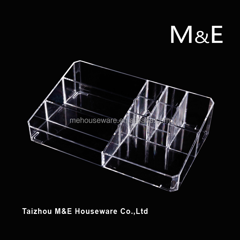 High quality Big size Acrylic Makeup Cosmetics Storage <strong>Boxes</strong> 2 Drawers with Top Holder