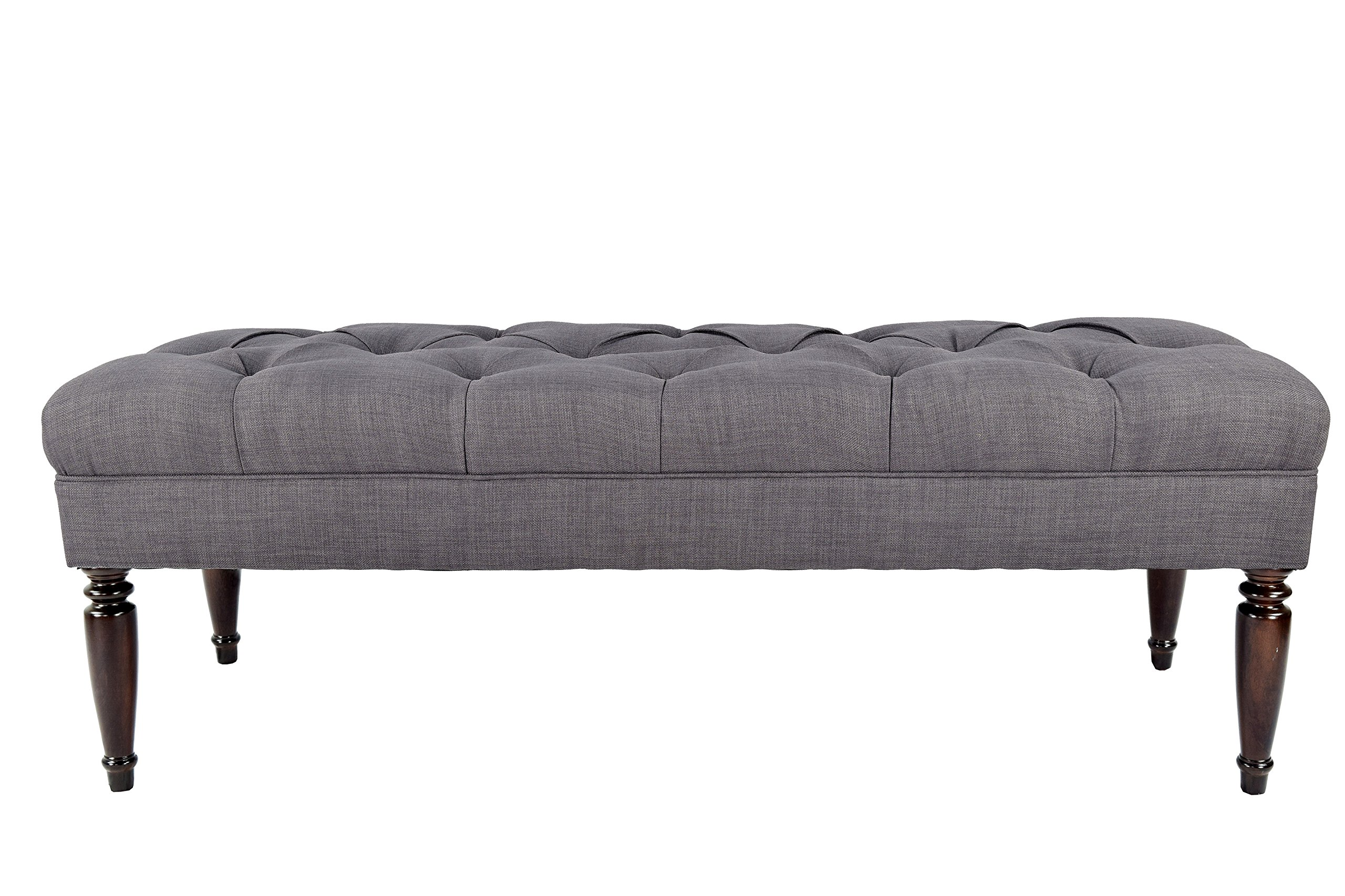 MJL Furniture Designs Claudia Collection Upholstered Diamond Tufted Bedroom Bench, HJM Series, Grey/Red Tint