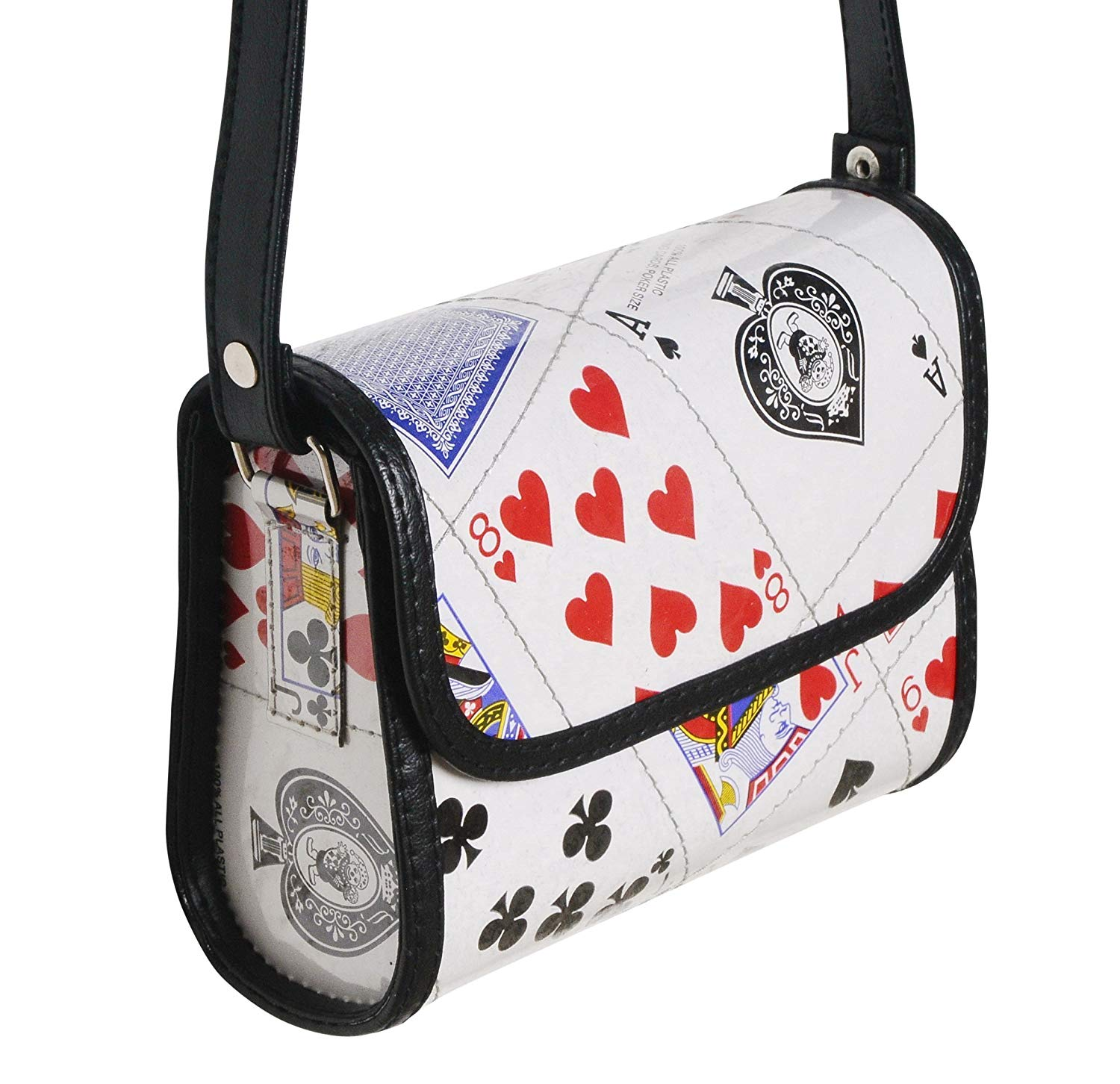Small crossbody made from playing cards - FREE SHIPPING, upcycled style eco friendly vegan recycled of reclaimed materials repurposed bag gift gifts for poker bridge player play card hearts and clubs