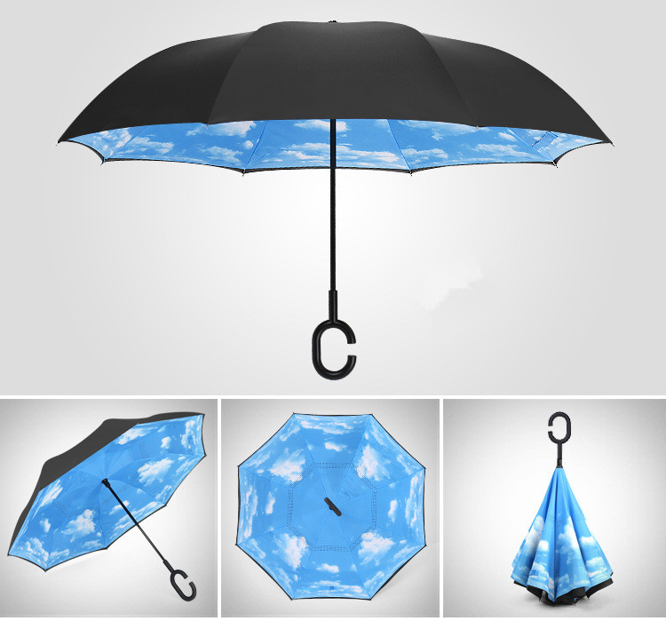 2017 China manufacturer umbrella promotional windproof travel reverse upside-down umbrella